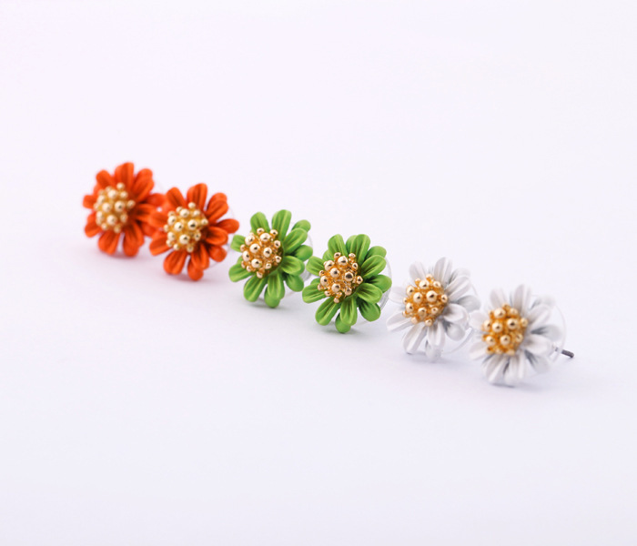 New Top Quality Fashion Jewelry Vintage Flower Women Stud Earring Lady Delicacy Daisy Luxury Christmas Gift(3 Color)(China (Mainland))
