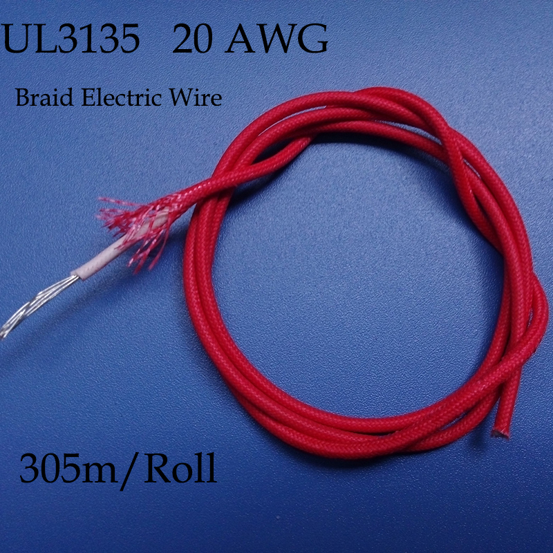 305m/Roll UL3135 20AWG Braid Electrical Wire,Silicone Rubber Cloth Wire,Flexible 600V 200C Durable Fabric,Conduct Tinned Copper(China (Mainland))