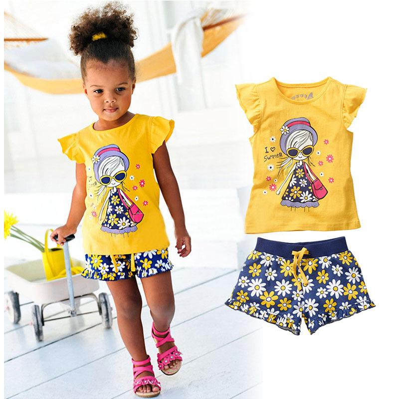 Girls Summer Casual Clothes Set Children Short Sleeve Cartoon T-shirt + Short Pants Sport Suits 2015 Kids Clothing Sets CF105(China (Mainland))