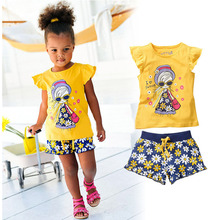 Girls Summer Casual Clothes Set Children Short Sleeve Cartoon T-shirt + Short Pants Sport Suits 2016 Girl Clothing Sets for Kids(China (Mainland))