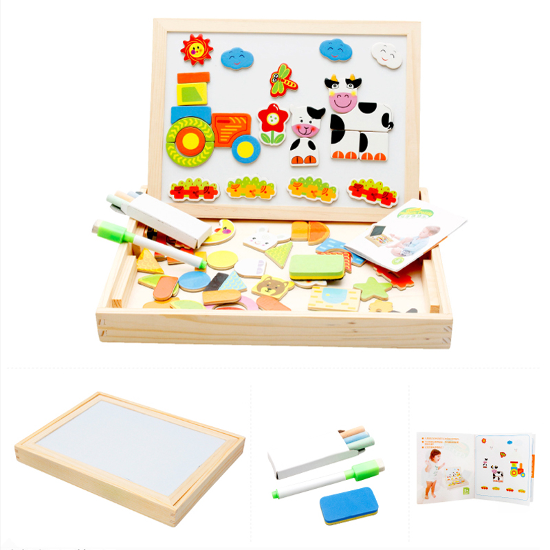 6 style Farm Animal Wooden Magnetic Puzzle Toys for Child Kids Jigsaw Baby Drawing Easel Board Multifunctional Educational LF014(China (Mainland))