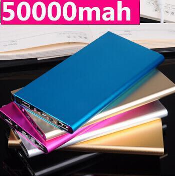 Super quality Slim Power Bank 50000mah powerbank portable charger external Battery Backup Aluminum powers For Smartphone ipad(China (Mainland))