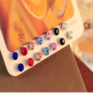 6MM 10 colors magnetic stud Earrings for men women Fashion Spring color cubic zirconia crystal earrings ears clip no pierced(China (Mainland))