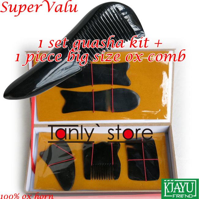 100% buffalo horn! Traditional Acupuncture Massager tool hard box Gua Sha beauty kit 5pcs/set +1pcs guasha chart +1pcs comb(China (Mainland))