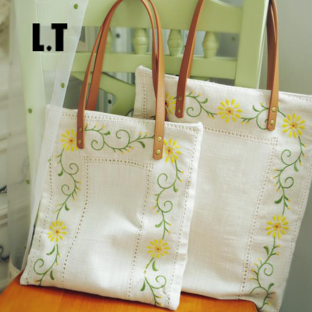 Women Linen Shabby Chic Embroidery Floral Handbags Handmade Vintage Rustic Wedding Bohemian Leather Handle Totes Bags Etsy(China (Mainland))