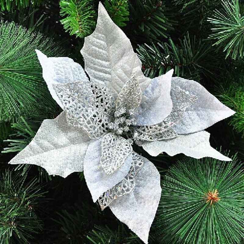 20 christmas tree ornaments 20cm silver hollow leaves for Christmas tree with red and silver ornaments