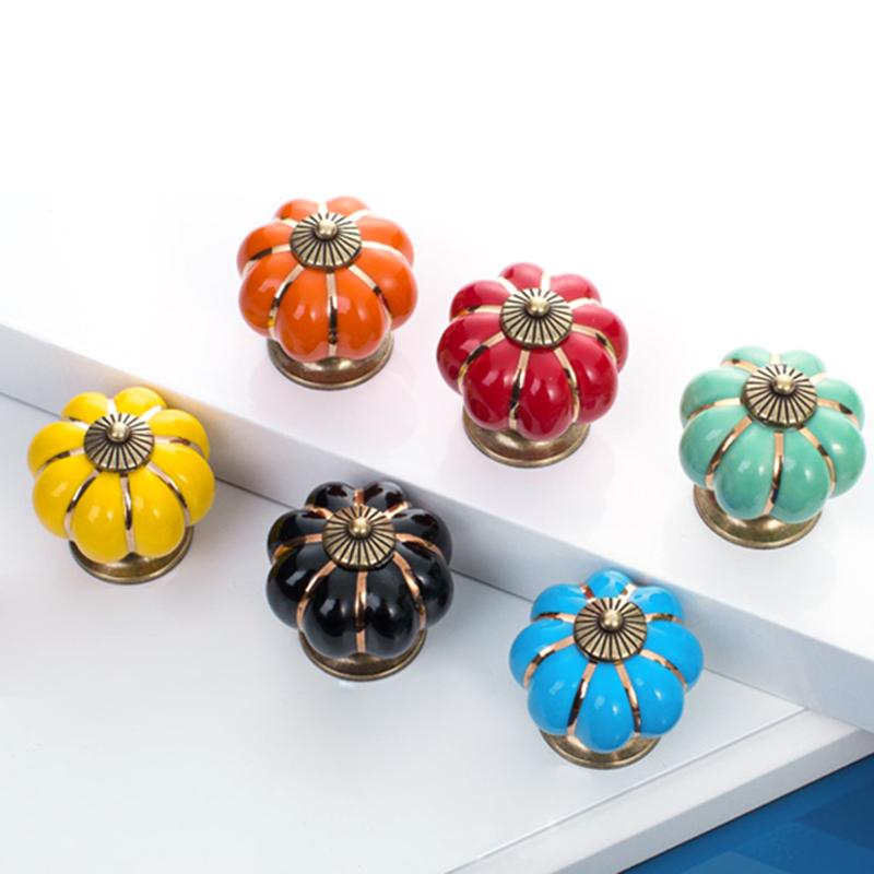 Ceramic Europe Vintage Pumpkin Cabinet Drawer Knob Door Handle Pull Drawer D0125(China (Mainland))