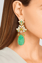 2016 New Arrival Famous Brand Jewelry Carve Arabesque Jade Drop Earring with Glass Pearl Art Deco Fashion Large Earring(China (Mainland))