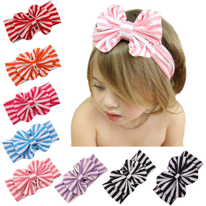 2015 New Cute Baby Girl Headwear Big Striped Bow Elastic Headband Lovely Children Kids Headwrap 8 Candy Colors Wholesale(China (Mainland))