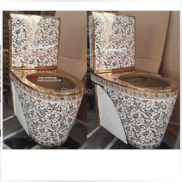 Grossiste de luxe de style europ en toilettes mosa que dor e or toilettes une pi ce siphon jet - Mosaique doree ...