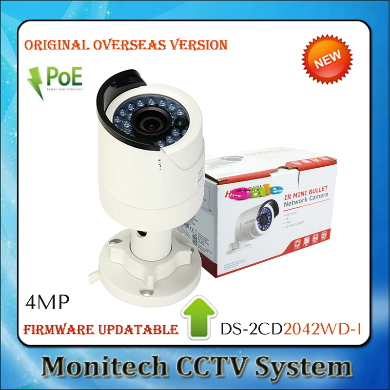 30PCS English Version Updatable DS-2CD2042WD-I POE 4MP 1080P WDR Outdoor IR Camera Bullet Network Security CCTV IP Camera(China (Mainland))