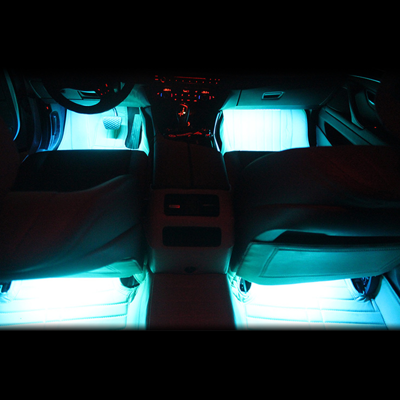 4 9 led car light interior atmosphere suv floor strip lamp remote music control car. Black Bedroom Furniture Sets. Home Design Ideas