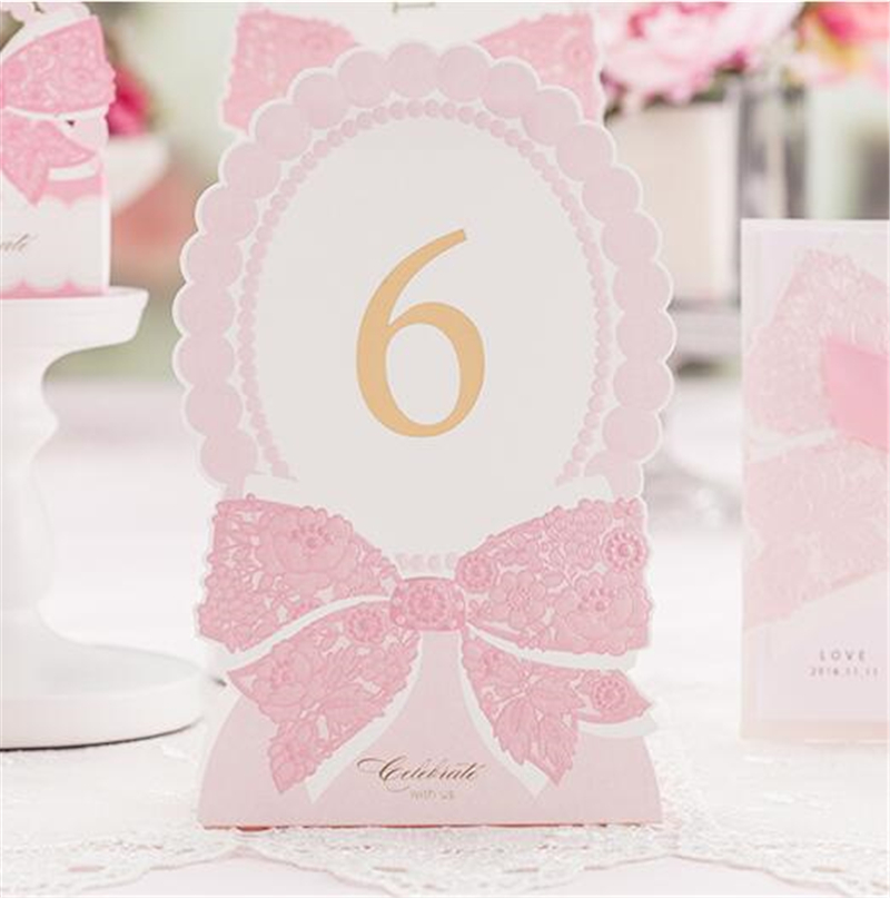 Romantic Pink Table Number Decoration Elegant Laser Paper Lover Flower Floral Festive Event Party Supplies Wedding Table Card(China (Mainland))