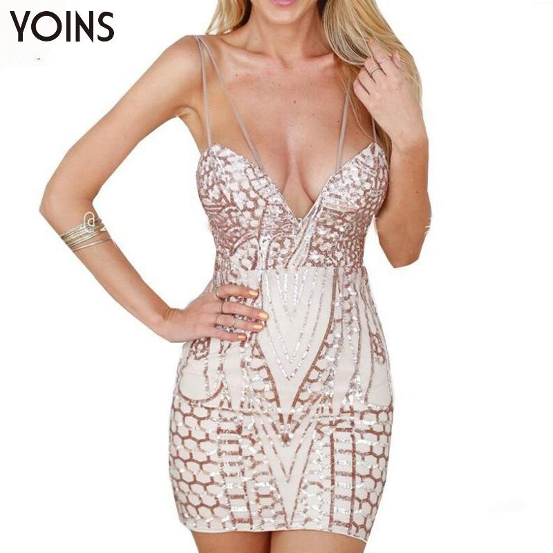 YOINS New 2016 Women Sexy Plunge Neck Backless Sequin Bodycon Mini Dress Fashion Sleeveless Club Party Caimi Dresses Vestidos(China (Mainland))