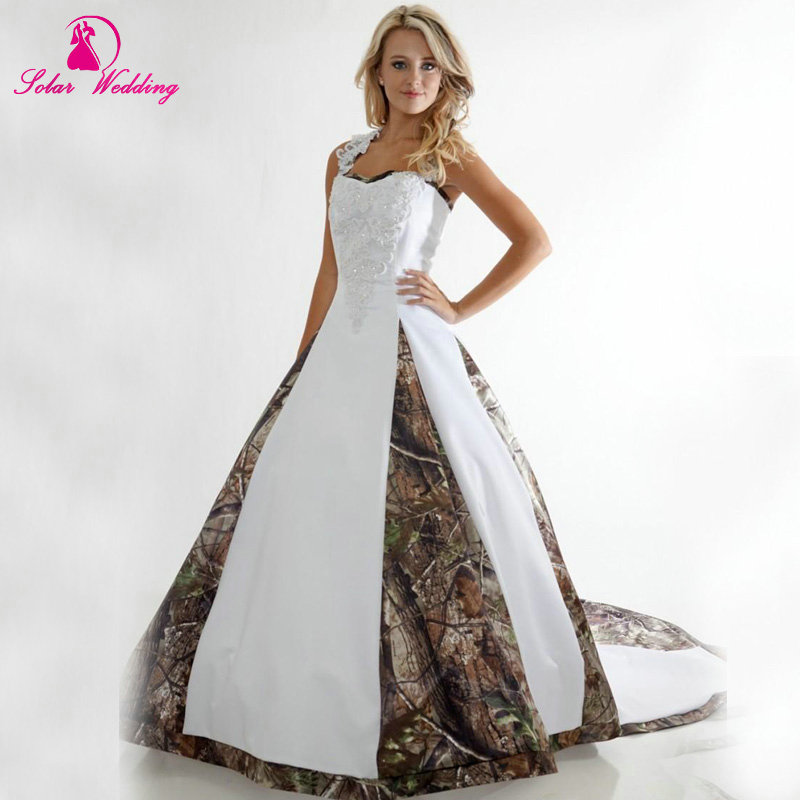 2016 New Camo Wedding Dresses Halter Camouflage Bridal