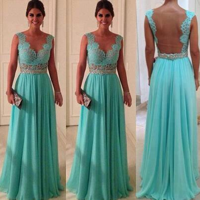 2017 New Lace Evening Dress Green Vestidos De Chiffon A Line Floor Length Prom Gown(China (Mainland))