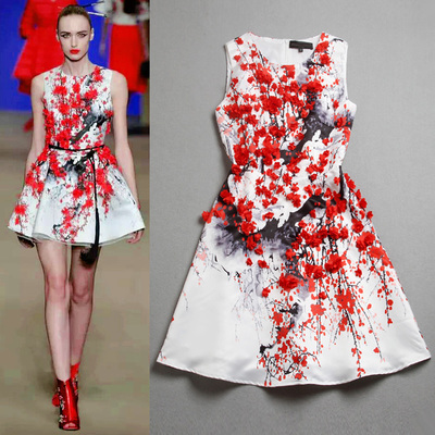 Newest Women Vestido de festa Runway 3D Plum Flower Dress 2015 Summer Fashion Ladies Print INK Dresses For Girls(China (Mainland))