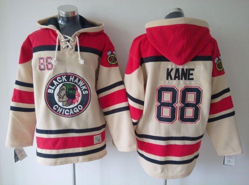 Mens Ice Hockey Hoodies Chicago Blackhawks Jersey Sweatshirts Embroidery Logos #88 Patrick Kane Beige.
