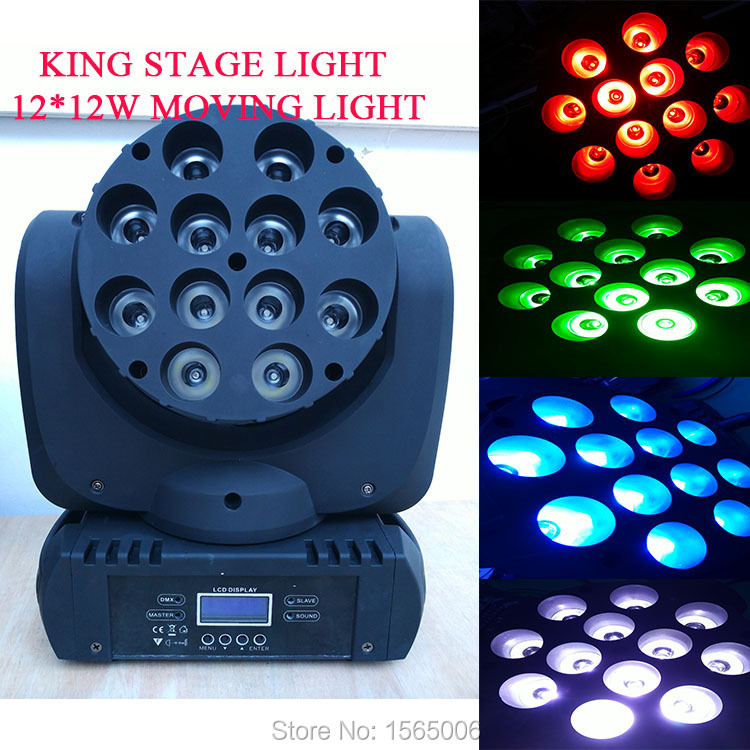 1pc Fast Shipping LED Beam Moving Head stage Light 12pcsx 12W RGBW Quad LEDs With Excellent Pragrams 11/15 Channels(China (Mainland))