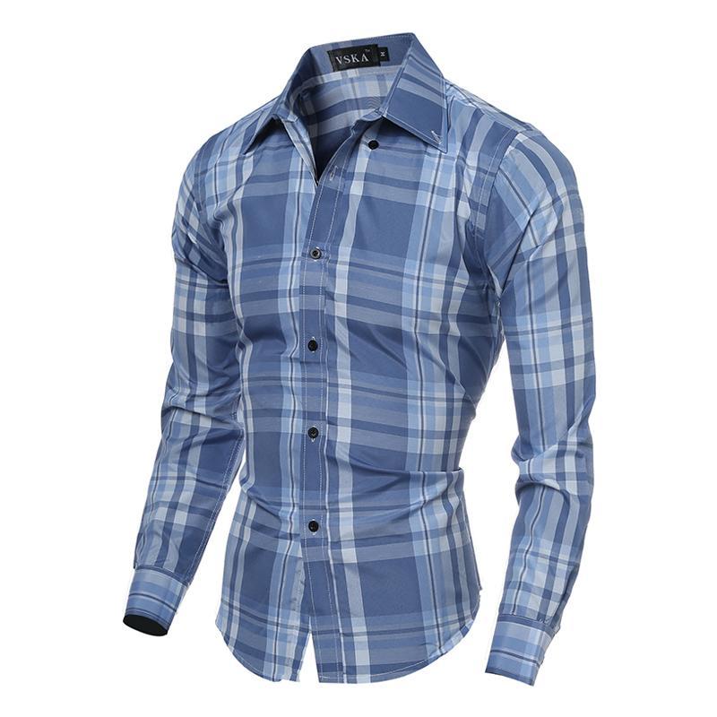 2016 New Fashion Spring Brand Mens Long Sleeve Plaid