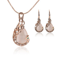 Wedding Jewelry Set Peacock Necklace And Earring Set Crystal Costume 18K Gold Plated Rhinestone Vintage Necklace Drop Earrings