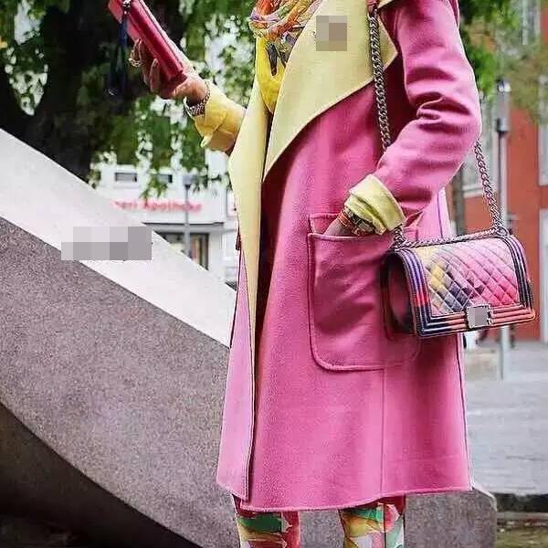 2015 New Design Colorful Painting Sheepskin Women Flap Bags 25CM Boy(China (Mainland))