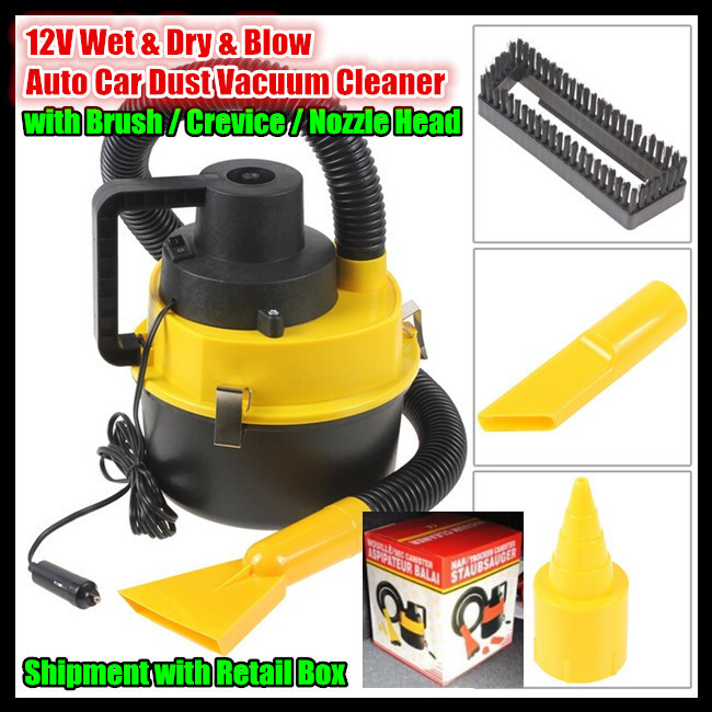 23*23*28cm 3-in-1 High Efficiency 12V 90W 2600(mbar) Wet & Dry & Blow Portable Auto Car Dust Vacuum Cleaners,with Retail Box(China (Mainland))