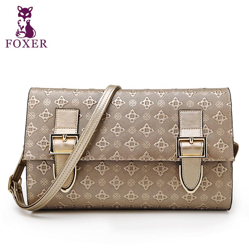 Фотография 2015 new fashion famous brand FOXER women bag top quality genuine leather handbag Embossing cover shell women messenger bags