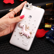 SMILE CASE Air transport Pink zebra Rhinestone Clear PC Case for Huawei honor 5x / honor 4c / honor 4C Pro mobile phone Cases