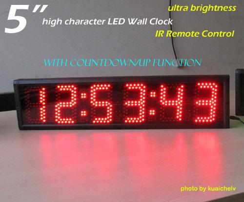 5 inch 6digits large led clock semi outdoor led wall clock