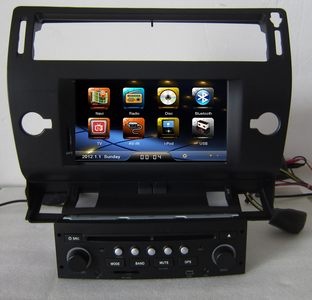 black color 2 din auto radio dvd gps navigation for citroen c4 2004 2005 2006 2007 2008 2009. Black Bedroom Furniture Sets. Home Design Ideas