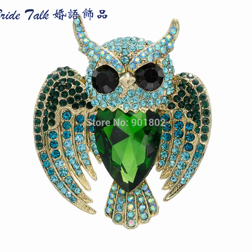 The Romantic Art Of Rhinestone Drop Brooches Plum Flower Group Crystal Owl Brooch Pin Pendant Free Shipping 6 Color 5758(China (Mainland))
