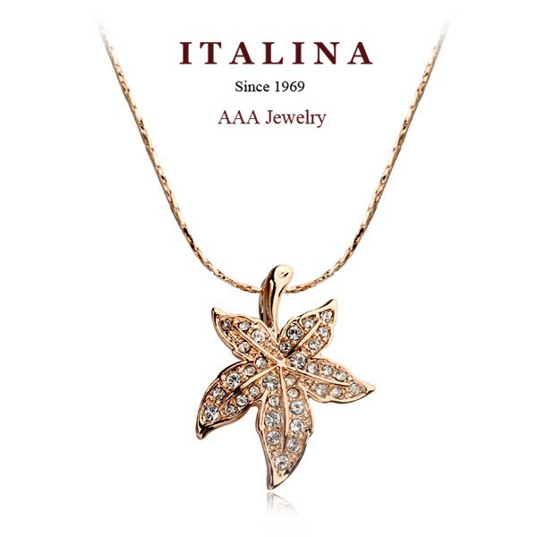 Italina Rigant Pendant Necklace Rose White Gold Plated Austrian Crystal Toronto Maple Leaf Necklace Jewelry