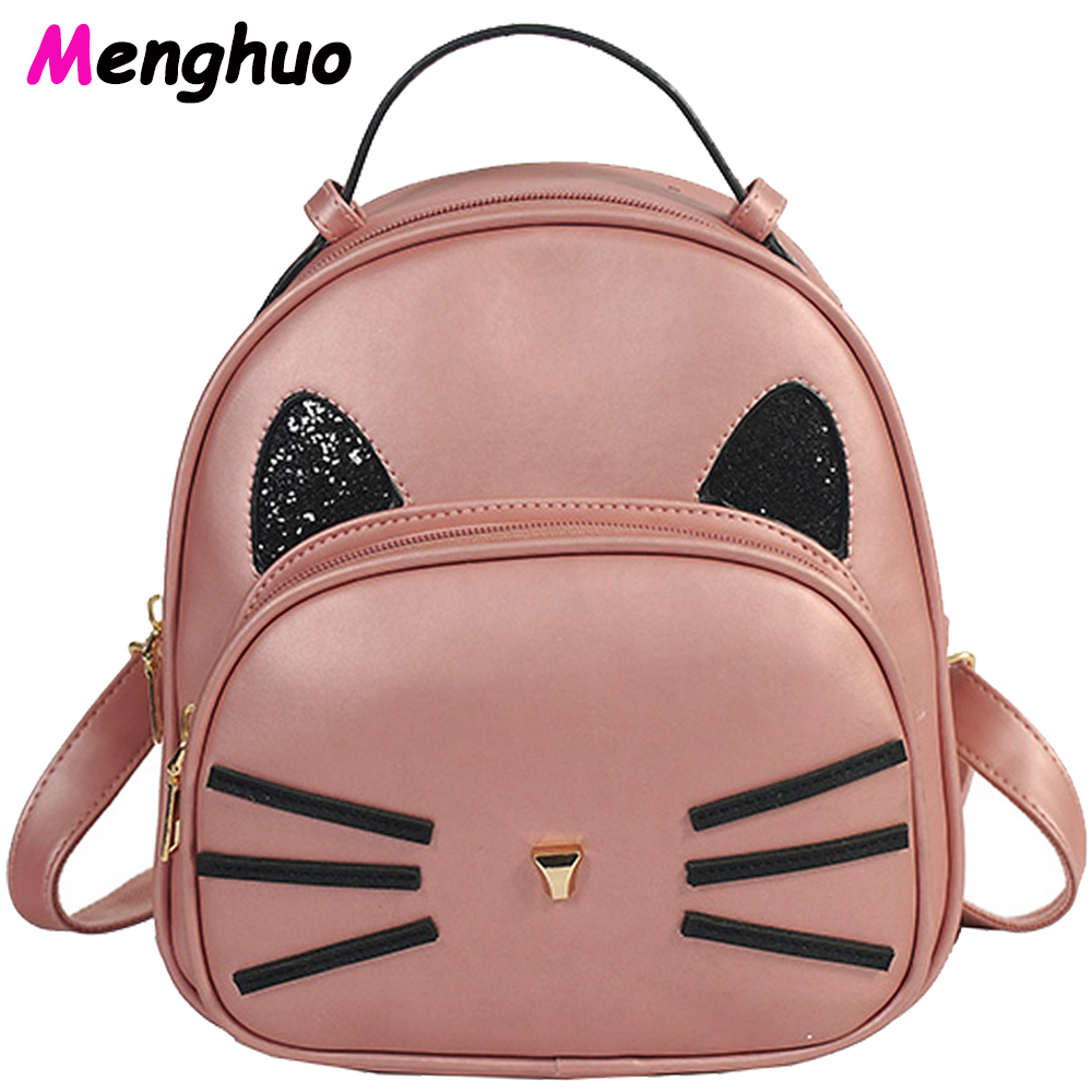 Cat Backpack Black Gray Preppy Style School Backpacks Funny Pu Leather Fashion Women Shoulder Bag Travel Back Pack Sac
