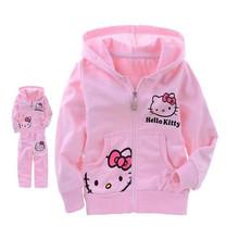2016 New Fashion Hello Kitty Baby Boys Girls Sets Long Sleeve T-Shirt+Pants Autumn Coats Kids Suits Free Shipping #5#(China (Mainland))