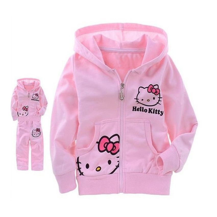 2016 New Fashion Hello Kitty Baby Boys Girls Sets Long Sleeve T-Shirt+Pants Autumn Coats Kids Suits Free Shipping 5D(China (Mainland))