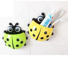 [5 colors] Cute Ladybug Cartoon Sucker Toothbrush Holder suction hooks / Household Items / toothbrush rack / bathroom set(China (Mainland))