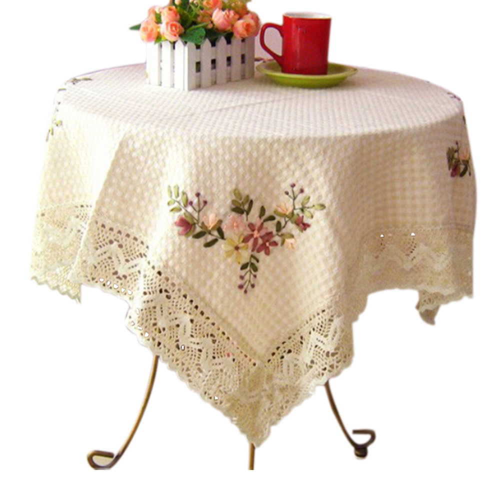 2015 cotton linen Hand embroidery printed european table cloth cover round aquare crochet home wedding tableclothes decoration(China (Mainland))