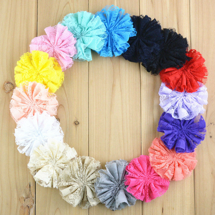 """Wholesale 300pcs/lot New Comming 3"""" Handmade Solid Lace Flower Flat Back Kids Garment Hair Accessories FH62(China (Mainland))"""
