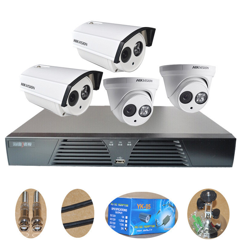 Hikvision surveillance equipment suits four sets of supermarket retail warehouse home monitoring equipment package(China (Mainland))