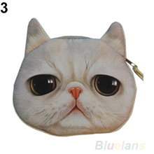 New Cute Cat Face Zipper Case Coin Purse Wallet Makeup Buggy Bag Pouch 12WR