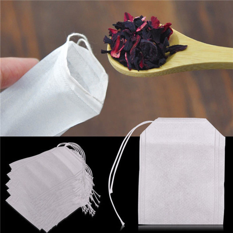 Empty Tea Bag Ball With String Heal Seal Filter Paper for Herb Non-woven Fabrics Teabags Loose Tea Supplies 5.5 x 7CM(China (Mainland))