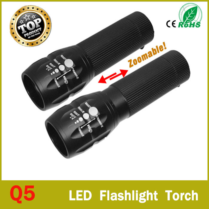 92% Off High-quality CREE Q5 2000 Lumens Lanterna Waterproof Mini Black LED Flashlight 3 Modes Zoomable Tactical Torch Light(China (Mainland))