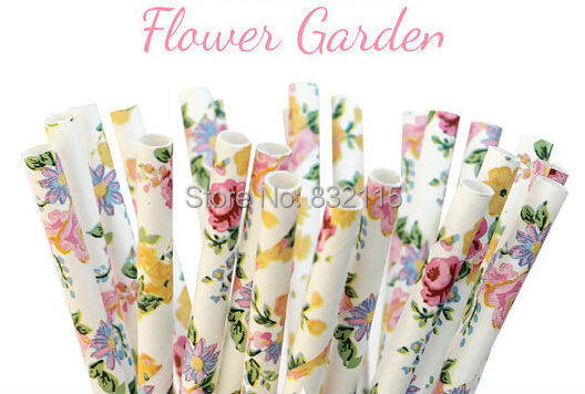100 pcs FLOWER GARDEN Paper Straws, Party Decor, Cake Pops, Floral, Vintage, Tea Party, Shower, Birthday Baby Shower,Wedding,(China (Mainland))