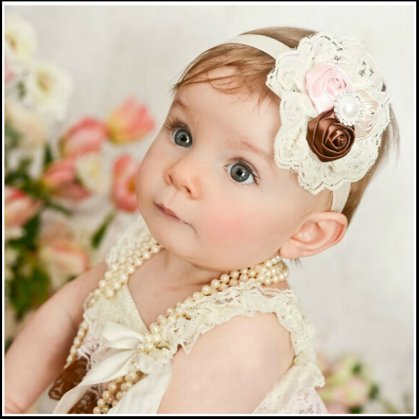 1PCS Retail Infant flower headband Babies pink lace hairband Toddler Baby girls Felt Flower headbands Free shipping(China (Mainland))