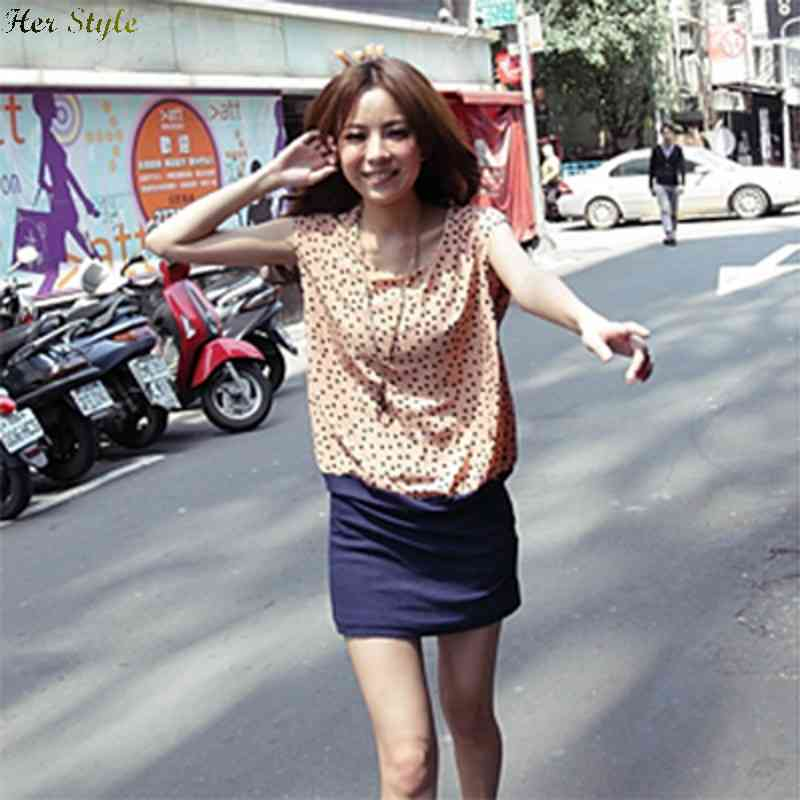 Free Shipping school dresses polka dot silk clean stitching 065005 1430822463(China (Mainland))