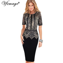 Vfemage Womens Elegant Vintage Lace Peplum See Through Sleeve Casual Party Special Occasion Sheath Fitted Bodycon Dress 4285(China (Mainland))