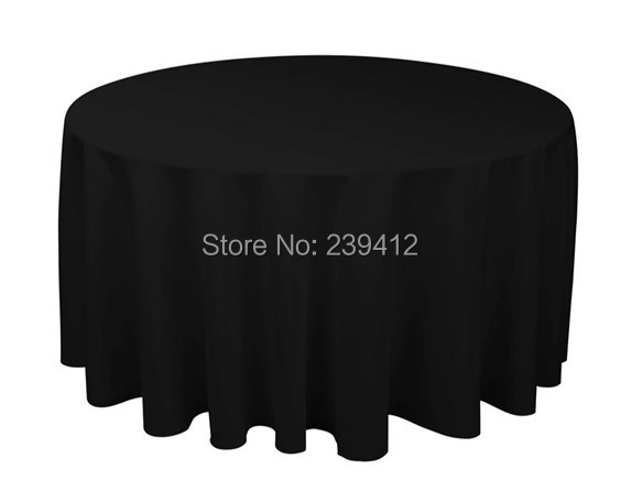 """120"""" Round 210GSM Black Polyester Plain Table Cloth for Weddings Events &Banquet &Party Decoration(China (Mainland))"""