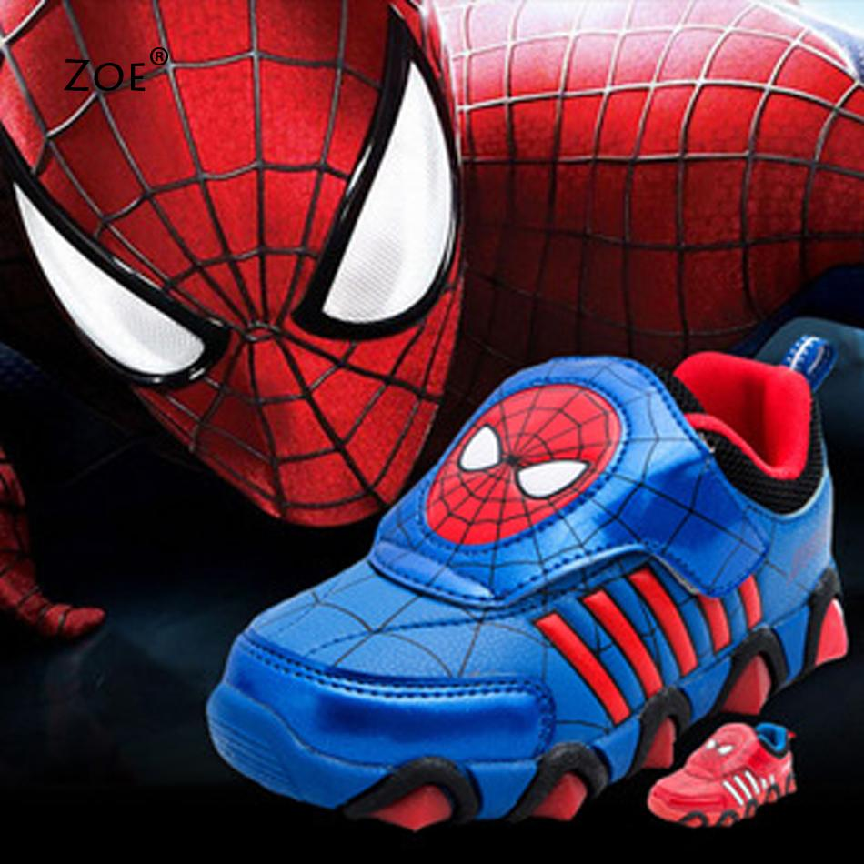 NEW Kids Shoes HULK/Spiderman/American Captain Sports Sneakers Breathable Children Shoes with Light Brand Outdoor Boy Girl Shoes(China (Mainland))