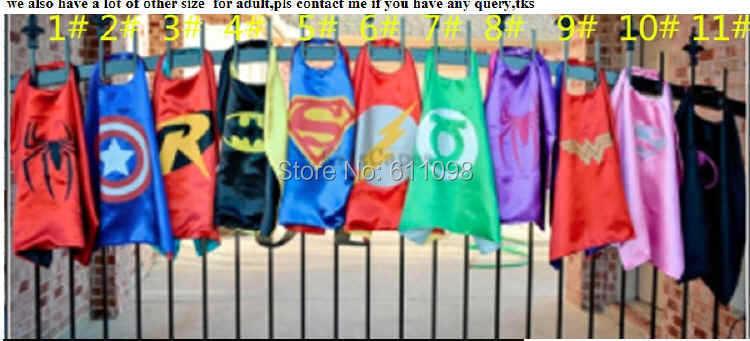 Halloween cape children satin 25 70*70cm Superhero Kids Superman Cape cartoon Batman Spiderman free shpping - Mandela Mandy's store